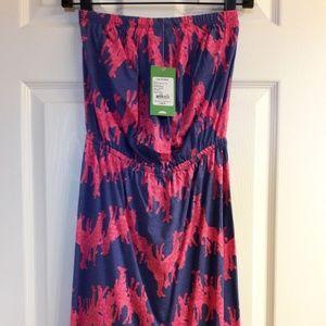Iris Blue Neck In Neck Windsor Strapless Dress